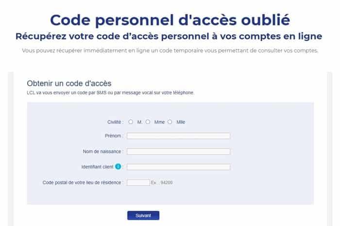Compte LCL - Code d'accès oublié