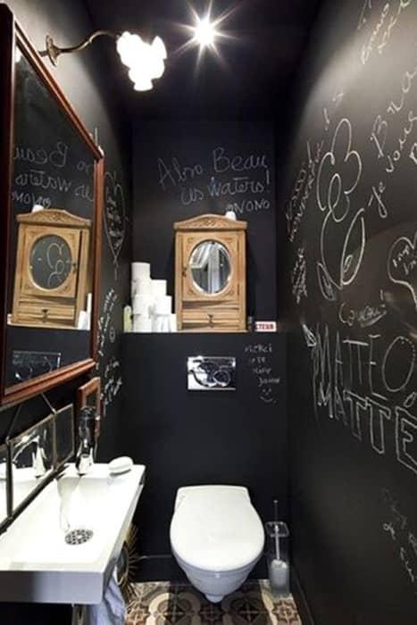 Déco toilette noir & blanc