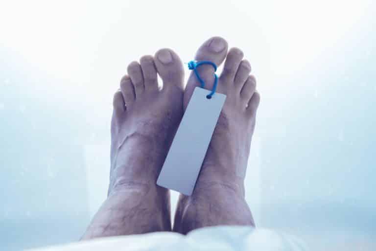 Feet of dead male person in morgue